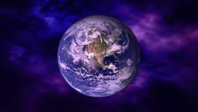 Hög sikt för upplösningsplanetjord Världsjordklotet från utrymme i ett stjärnafält som visar terrängen och molnen element Royaltyfri Bild