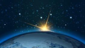 Hög sikt för upplösningsplanetjord Världsjordklotet från utrymme i ett stjärnafält som visar terrängen och molnen element Arkivbilder