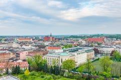 Hög sikt på den Krakow staden Arkivfoto