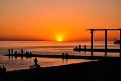 hög solnedgång för jpgupplösningshav Arkivfoton