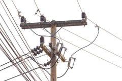 Hög spänning för elektricitetsstolpe höga spänningskabellinjer Arkivbild