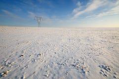 Hög spänningsmakt Pole i vinter Arkivfoton