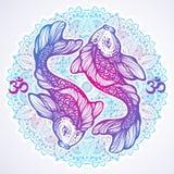 Hög-specificerad härlig illustration av den Koi karpfisken på Mandalarundamodell Hand-dragen vektorlinje isolerad konst Tatuering vektor illustrationer