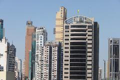 hög stigning för byggnader Vägbankfjärd, hk-ö royaltyfria foton
