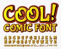 Hög stilsort för detaljgulingkomiker Alphabe komiker, popkonst vektor illustrationer