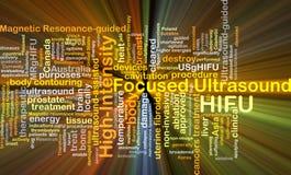 Hög-styrka fokuserad för bakgrundsbegrepp för ultraljud HIFU glowin vektor illustrationer