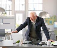 Hög tekniker som arbetar med datoren på kontoret arkivfoton
