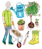 Hög trädgårdsmästare för vattenfärg och trädgårduppsättning Royaltyfri Fotografi
