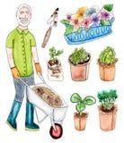 Hög trädgårdsmästare och planta - vattenfärguppsättning Royaltyfria Foton