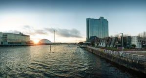 Hög upplösningspanorama av floden Clyde i Glasgow Arkivbilder