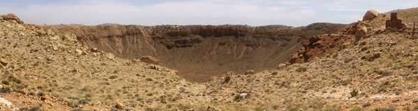 Hög upplösningspanorama av meteorkrater Arizona Royaltyfri Foto