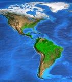 Hög upplösningsvärldskarta som fokuseras på Amerika Royaltyfri Foto