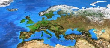 Hög upplösningsvärldskarta som fokuseras på Europa royaltyfria bilder