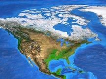 Hög upplösningsvärldskarta som fokuseras på Nordamerika royaltyfri foto