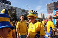 Hög ventilator från Sverige på UEFA EURO-2012 Arkivbild