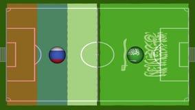 hög video för definition 4K av den realistiska krabba flaggan över fotbolllekplats med sömlösa öglor av snurrbollen