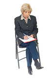 hög writing för affärskvinna Royaltyfria Foton