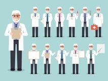 Höga doktors-, läkarundersökning- och sjukhuspersonaltecken vektor illustrationer
