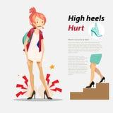 Höga häl som göras ont med infographic - Royaltyfri Fotografi