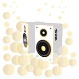 Höga högtalare, ljud, dj-personaler Stock Illustrationer