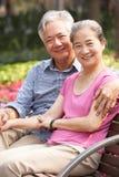 Höga kinesiska par som kopplar av på Parkbänk Royaltyfri Fotografi