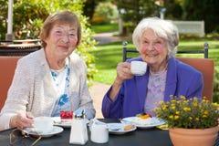 Höga kvinnor som har kaffe på den trädgårds- tabellen Royaltyfri Fotografi