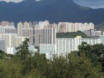 Höga löneförhöjningbyggnader i Hong Kong Arkivfoto