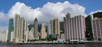 Höga löneförhöjningbyggnader i Hong Kong Royaltyfri Foto