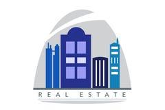 Höga löneförhöjningbyggnader Logo Real Estate Symbol Arkivbild