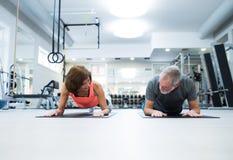 Höga par i idrottshall i planka placerar funktionsduglig abs Arkivfoto