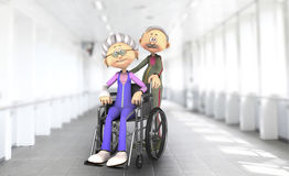 Höga par i sjukhusrullstol Royaltyfri Bild