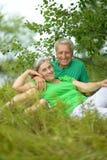 Höga par i sommarfält Arkivfoton
