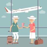 Höga par på flygplatsen royaltyfri illustrationer
