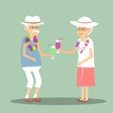 Höga par som dricker en coctail vektor illustrationer