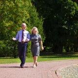 Höga par som går i sommar parkerar in royaltyfri foto
