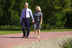 Höga par som går i sommar parkerar in royaltyfria foton