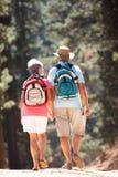 Höga par som går längs en landsväg arkivfoton