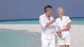 Höga par som går på den härliga stranden arkivfilmer