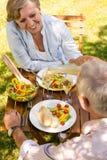 Höga par som har picknicken i trädgården Arkivfoton