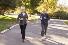 Höga par som joggar parkerar igenom fotografering för bildbyråer