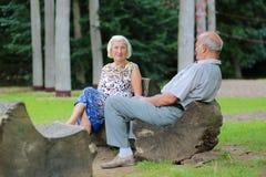 Höga par som kopplar av i parkera Royaltyfri Bild