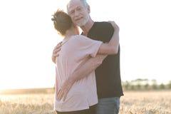 Höga par som omfamnar sig i ett vetefält, solljuseffekt fotografering för bildbyråer