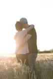Höga par som omfamnar sig i ett vetefält, solljuseffekt Arkivfoton