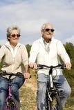 Höga par som rider en cykel royaltyfri foto