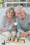 Höga par som spelar schack Royaltyfri Fotografi