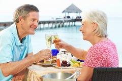 Höga par som tycker om mål i sjösidarestaurang Royaltyfri Bild