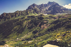 Höga Rocky Mountains och för blå himmel landskap Royaltyfri Foto