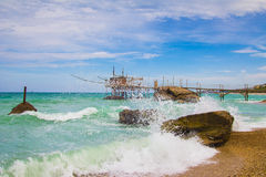 Höga vågor på Punta Le Morge Royaltyfri Fotografi