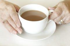 Höga womanshänder som rymmer koppen av tea Royaltyfri Foto