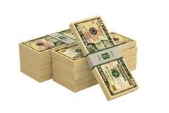 Högar av 10 dollar sedlar - som isoleras på vit Arkivbild